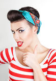 Funny portrait of beautiful woman with red lips Royalty Free Stock Images