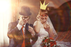 Funny portrait of bride and groom Royalty Free Stock Images