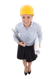 Funny portrait of business woman in builder helmet with clipboar Royalty Free Stock Image