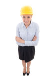 Funny portrait of business woman in builder helmet isolated on w Royalty Free Stock Images