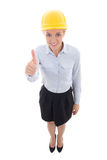 Funny portrait of business woman in builder helmet thumbs up iso Royalty Free Stock Image