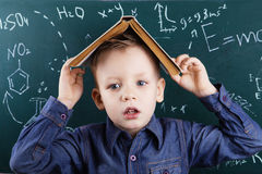 Funny portrait clever pupil boy on school board background Royalty Free Stock Image