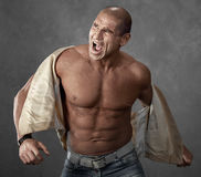 Funny portrait of crying angry bully man. Portrait of crying angry bully man Royalty Free Stock Image