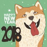 Funny portrait of dog breed Akita Inu. Funny portrait of smiling dog, breed Akita Inu, yellow color. Lettering 2018 Happy New Year. Zodiac sign of new year royalty free illustration