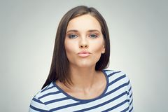 Funny portrait of girl showing duck lips. Royalty Free Stock Photography