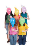 Funny portrait of girls with balloons Stock Photography