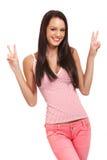 Funny portrait of a happy brunette woman Stock Photos