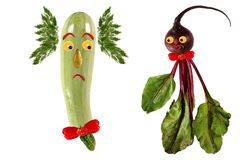 Funny portrait made of zucchini,  beet  and fruits Royalty Free Stock Photography