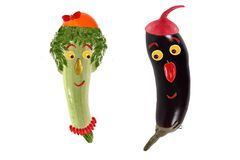 Funny portrait made of zucchini,  eggplant  and fruits Royalty Free Stock Photo