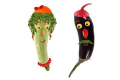 Funny portrait made ??of zucchini,  eggplant  and fruits Royalty Free Stock Image