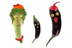 Funny portrait made of zucchini,  eggplants  and fruits Royalty Free Stock Images