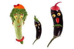 Funny portrait made of zucchini  and eggplants Stock Photography