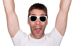 Funny portrait of a man cheering Stock Photos
