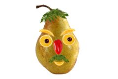 Funny portrait of a man made from pears  and oranges Royalty Free Stock Photography