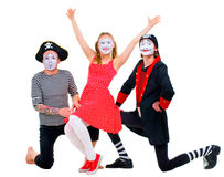 Funny portrait of mimes Stock Photos