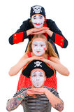 Funny portrait of mimes Stock Photo