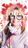 Romantic female nerd in a celebration of love Stock Photography