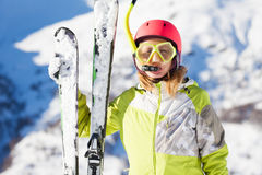 Funny portrait of skier in diving mask and snorkel Stock Image