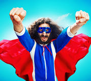 Funny portrait of a skinny heroe royalty free stock image