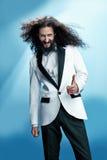 Funny portrait of a skinny nerd royalty free stock photo
