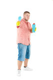 Funny portrait of standing cleaner. Iisolated over white Stock Photography