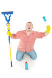 Funny portrait of standing cleaner. Iisolated over white Royalty Free Stock Image