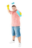 Funny portrait of standing cleaner. Iisolated over white Stock Images