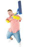 Funny portrait of standing cleaner. Picture of joyful  professional cleaner. Iisolated over white Royalty Free Stock Photo