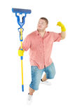 Funny portrait of standing cleaner. Picture of joyful  professional cleaner. Iisolated over white Stock Image