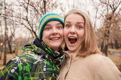Funny portrait of teenage young couple Stock Photography