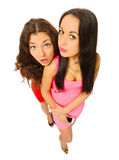 Funny portrait of two young girls Stock Images