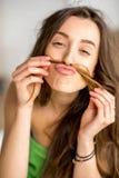 Funny portrait of a woman ni the bathroom Stock Photo