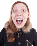 Funny portrait of a woman screaming. Royalty Free Stock Photos