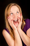 Funny portrait of a woman with wide open mouth Stock Image