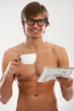 Funny portrait of young naked man Royalty Free Stock Photography