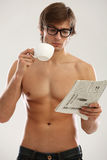 Funny portrait of young naked man Stock Images