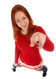 Funny portrait of young woman. Pointing at you. Isolated over white background Stock Photos