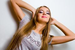 Funny portrait of young woman Royalty Free Stock Images