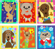 The funny portraits of the dogs. Funny of a cartoon congratulations of the dogs Stock Image