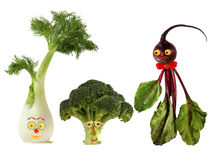 Funny portraits made from beet, fennel and broccoli Stock Images