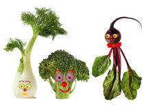 Funny portraits made from beet , fennel and broccoli Stock Photo