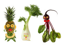 Funny portraits made from beet , fennel and pineapple Royalty Free Stock Photo