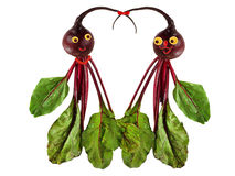 Funny portraits of men and women, made from beets. . Illustration of love. Royalty Free Stock Photography