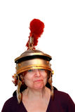 Funny Portraits - Woman With Roman Helmet Royalty Free Stock Photo