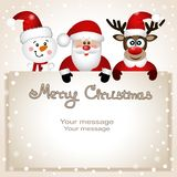 Funny postcard with Christmas reindeer, Santa and snowman. Stock Photo