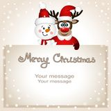 Funny postcard with Christmas reindeer and snowman. Christmas card. Funny postcard with Christmas reindeer and snowman. Vector Illustration Royalty Free Stock Photos