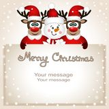 Funny postcard with Christmas reindeer and snowman. Royalty Free Stock Photography