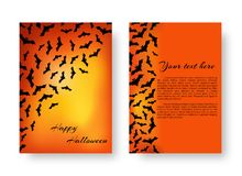 Funny poster with bats for Halloween. Scary template for postcard design with bats for festive Halloween design on the orange backdrop. Vector illustration Stock Image