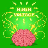 Funny Poster: brain with electrodes energized and text to design a banner or cover device. Vector illustration. Stock Photos