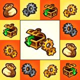 Funny poster or card with treasure chests and gold gears isolated on multicolored background. Vector cartoon close-up. Illustration vector illustration